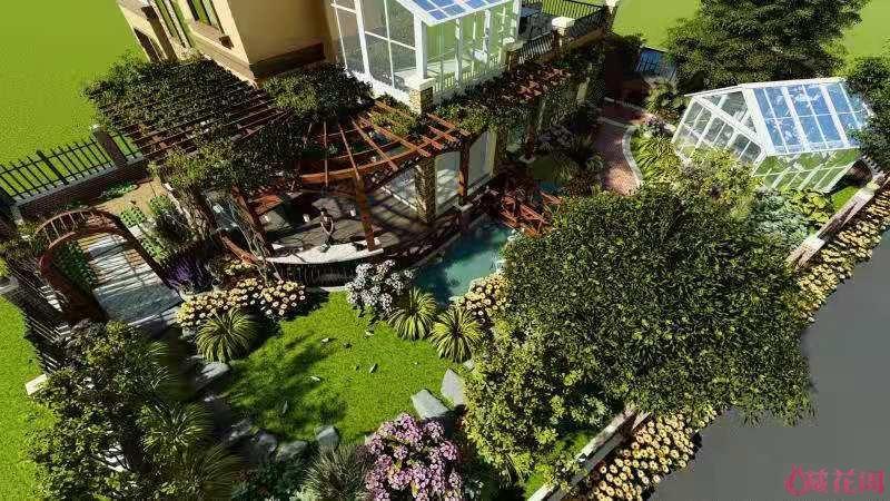侧花园和后花园的效果图