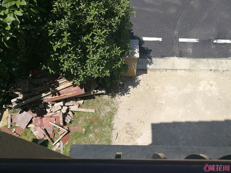 前花园也成了堆建筑板材的地方,大门柱是一定要换的,据说里面都是沙,一敲就会跨掉的!